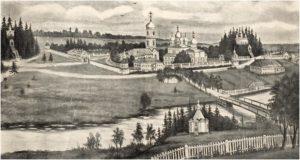 Вид Павло-Обнорского монастыря с юго-западной стороны. Гравюра А. Афанасьева конца XIX века