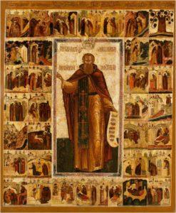 преподобный Павел Обнорский, икона с житием