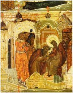 Благословение прп. Павла митрополитом Фотием на основание обители. Клеймо иконы
