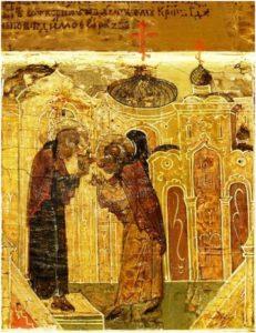 благословение Крестом преподобного Павла удалиться в пустынь, клеймо иконы