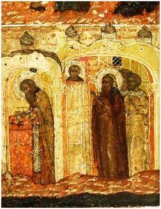 Богослужение в новопостроенной церкви. Клеймо иконы